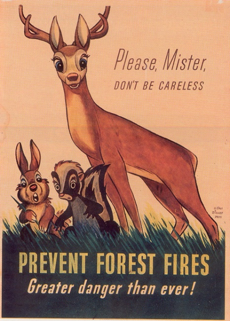Vintage Fire Prevention Poster 1944 Walt Disney Bambi