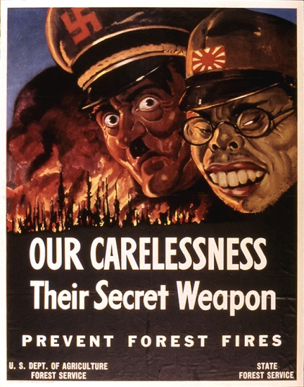 Vintage WWII Fire Prevention Poster 1943 Hitler and Tojo