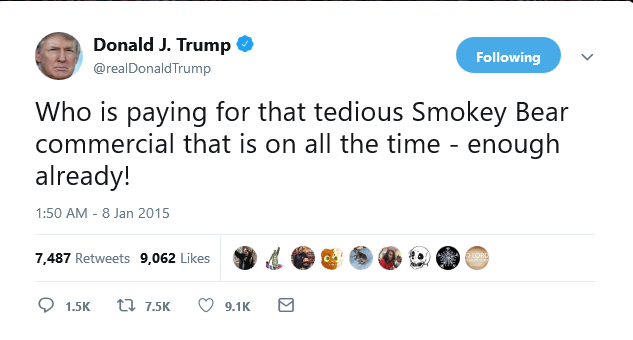 Trump tweet 2015 against Smokey Bear