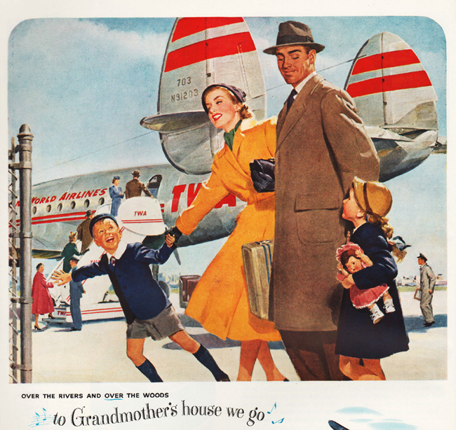 Vintage ad family and airplane TWA 1951