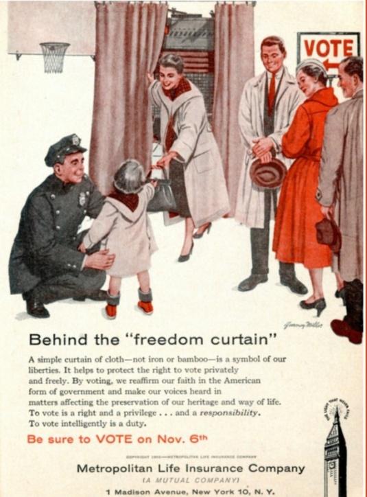 Vintage ad- illustration of mid century people voting