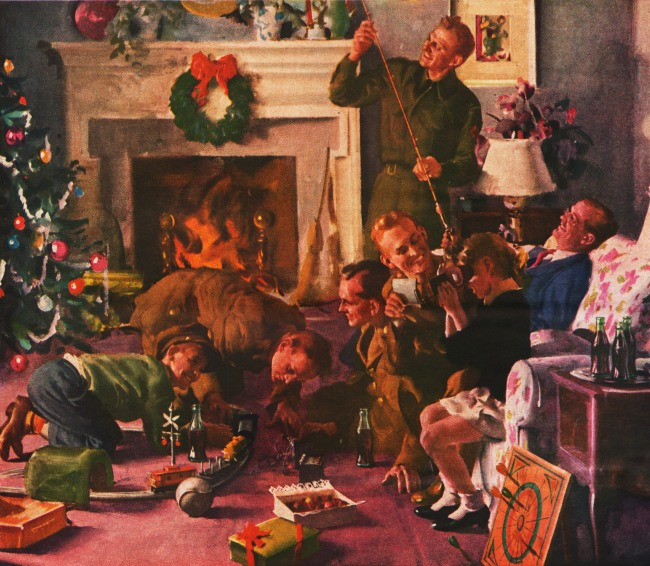 Vintage Illustration Christmas Coke ad 1943 Servicemen home for Xmas