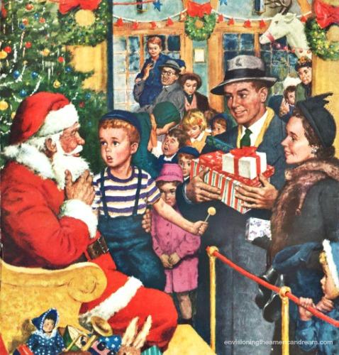 Vintage illustration Santa and children