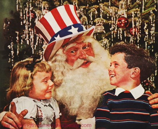 Vintage picture Santa Clause in Uncle Sam Hat with children