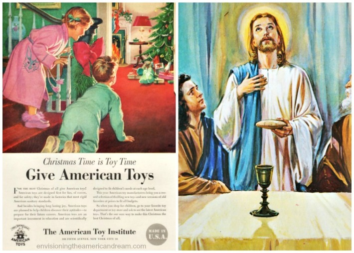 collage Vintage ad for Christmas toys and Jesus