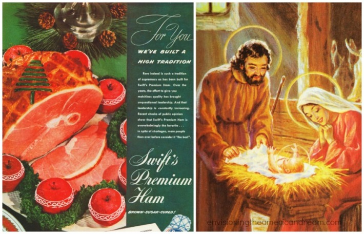 collage Holiday Christmas Ham ad and Nativity Scene