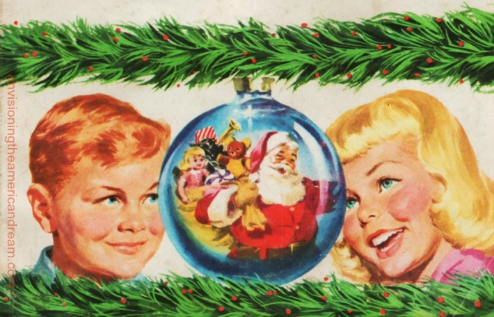 Illustration 1950's vintage children at Xmas time