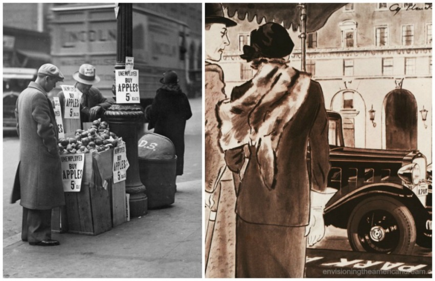 Depression era scenes Unemplyed Apple sellers and wealthy couple and their car