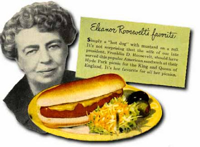 Vintage ad with Eleanor Roosvelt and hot dog