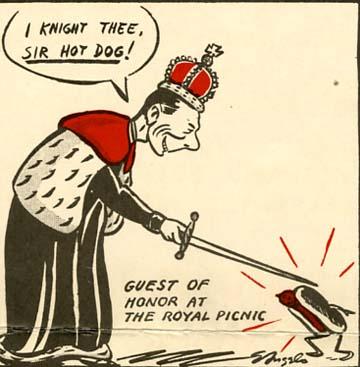 Cartoon King George VI and hot dog