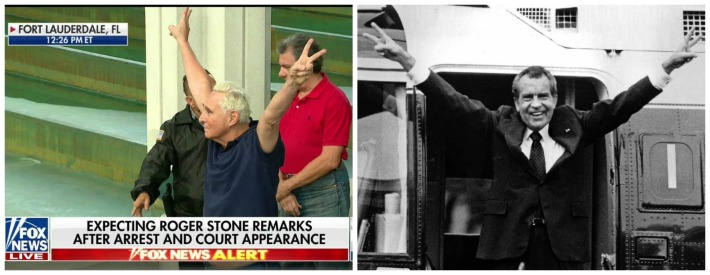 Roger Stone with victory wave and Nixon victory pose