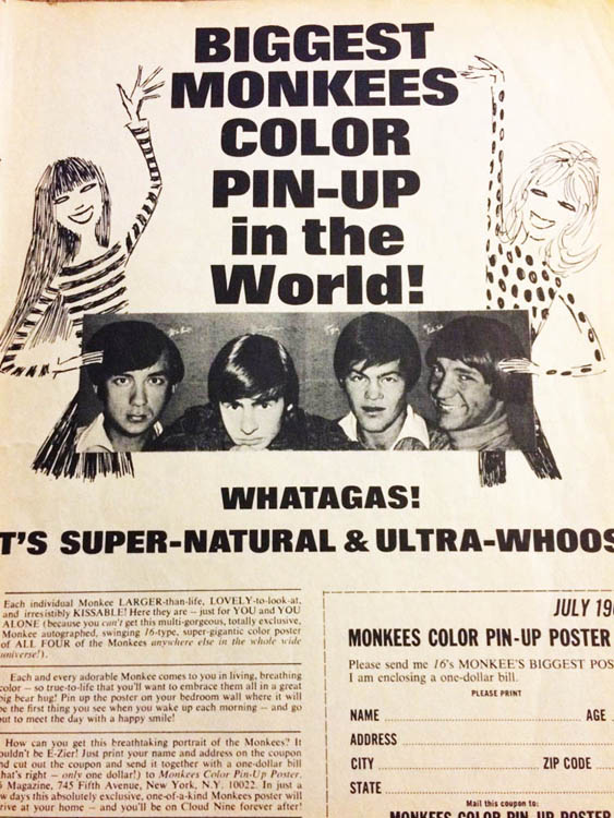 16 Magazine Ad for Monkees Poster
