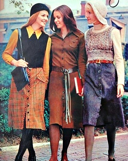 Vintage fashion 1970 college girls Midi fashion