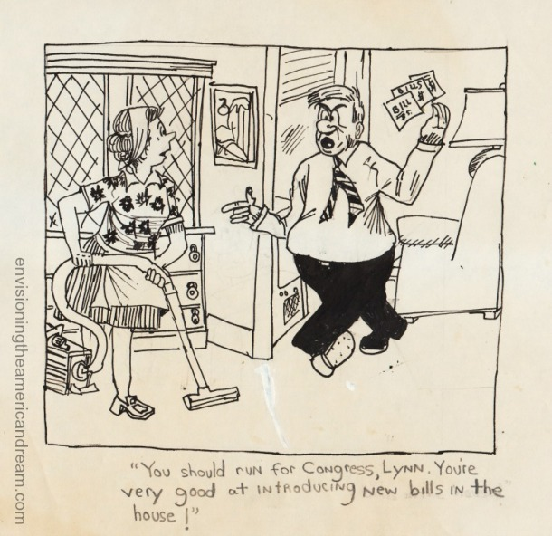 vintage cartoon husband and wife 1970