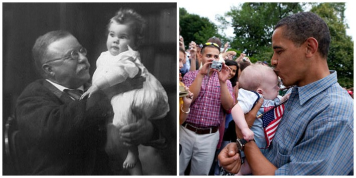 Theodore Roosevelt and Barack Obama kissing Babies