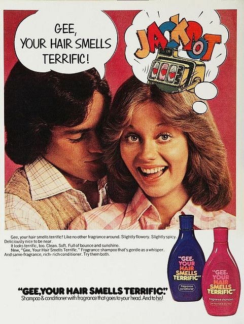 Vintage 1970s shampoo ad Gee Your Hair Smells terrific