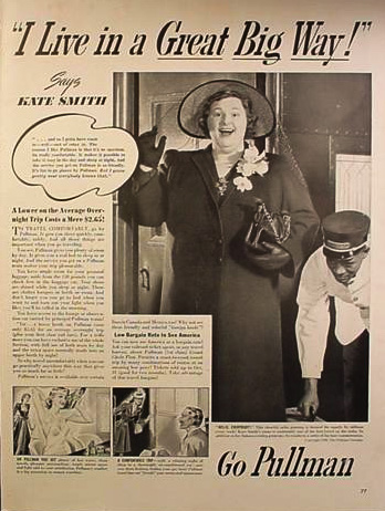 Kate Smith vintage ad for Pullman Trains Pullman porter
