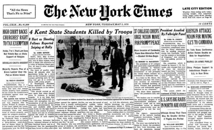 NY Times Headline Kent State Shooting