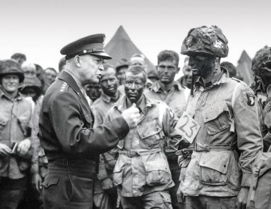 General Eisenhowe talks to troops D Day