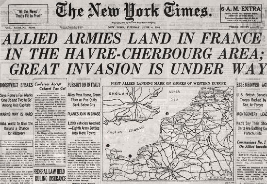 NY Times Special 6am Edition announcing Landing at Normandy D-Day June 6, 1944