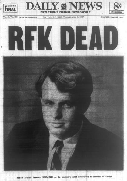 Newspaper RFK Dies
