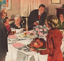 Vintage illustration Thanksgiving at home