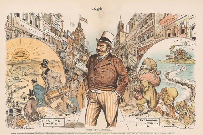 Vintage anti semitic and anti-immigration cartoon