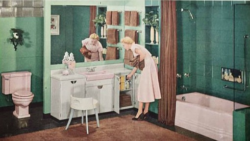 vintage pink bathroom 1950s