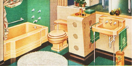 vintage yellow bathroom 1950s