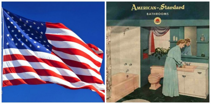 collage American flag and vintage bathroom 1950s
