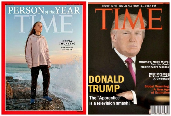 TIME COvers Person of the Year Greta Thunberg and Trumps Fake TIME Cover