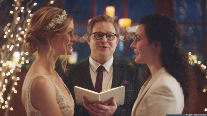 Same-sex wedding as seen on Zola Commercial that was pulled by Hallmark