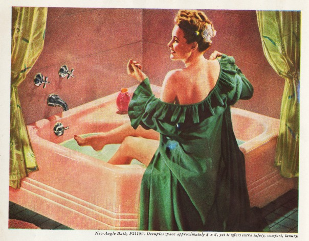 vintage pink bathtub and woman