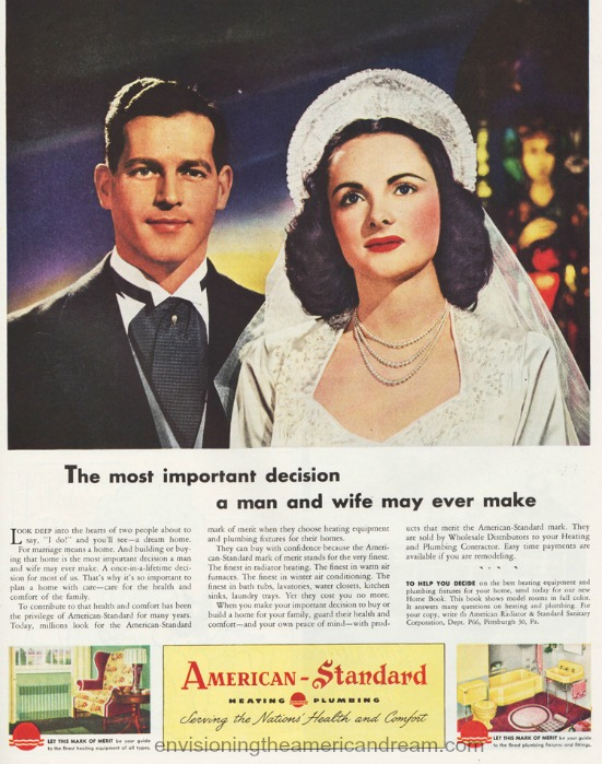 Bride and Groom vintage ad 1946 American Standard