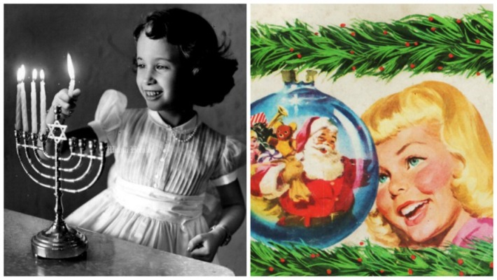 Vintage girl lighting Hanukkah Candles and Santa Claus