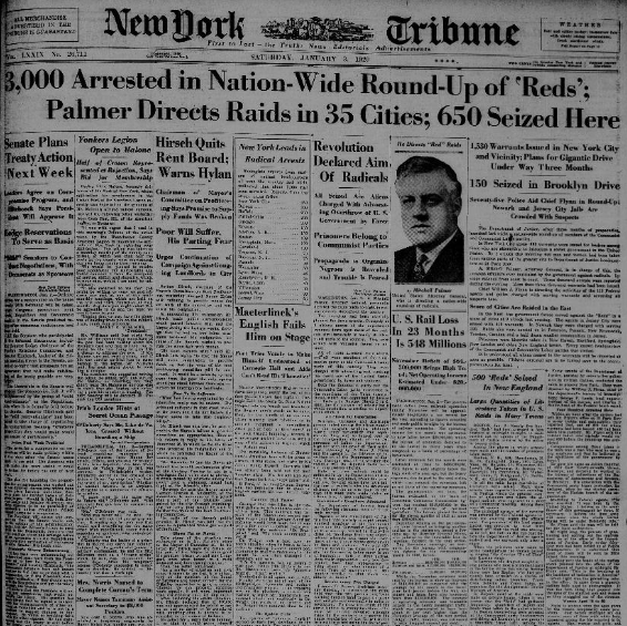 Vintage newspaper NY Tribune Headline Jan 3, 1920