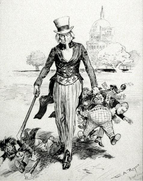 political cartoon Palmer Raids