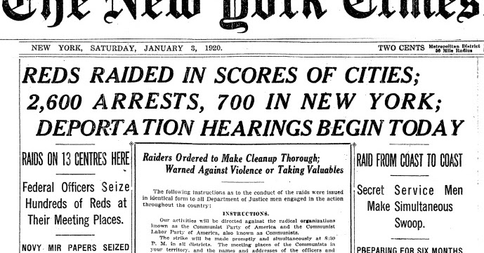 NY Times Headline Palmer Raids Jan 1920