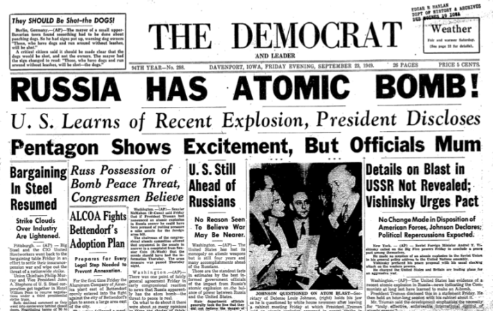 Headline Russia Has Atomic Bomb