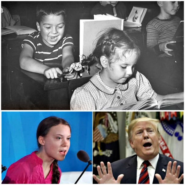 Collage bully sticking braids in inkwell and Trump and Thunberg