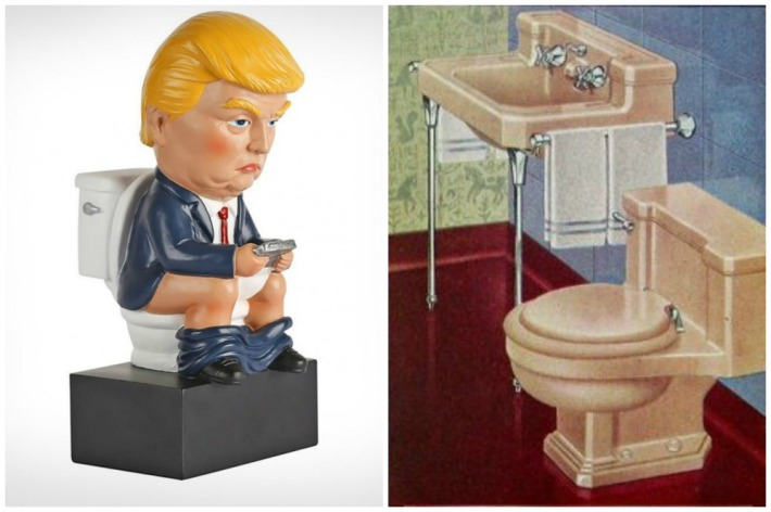 Trump sitting on toilet and vintage bathroom