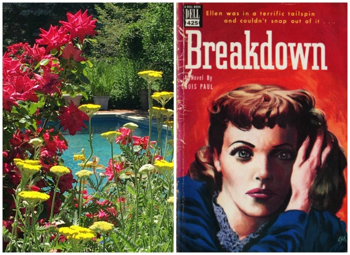 collage flowers by the pool and pulp fiction paperback cover