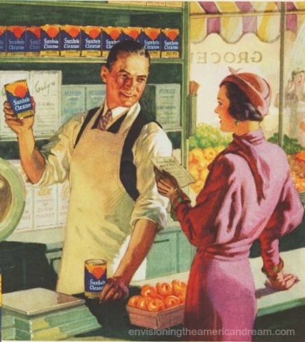 Vintage illustration Grocer and housewife 1930s