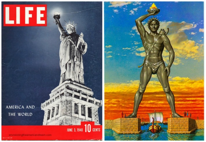 statue of Liberty and Colossus of Rhodes