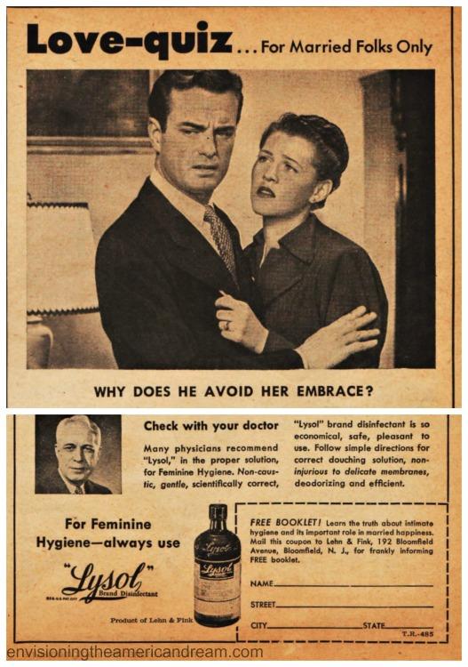 Vintage Lysol Ads (L) 1934 Lysol Personal Hygiene (R) 1937 Lysol Disinfectant for Home
