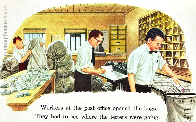 Vintage Illustration Postal workers