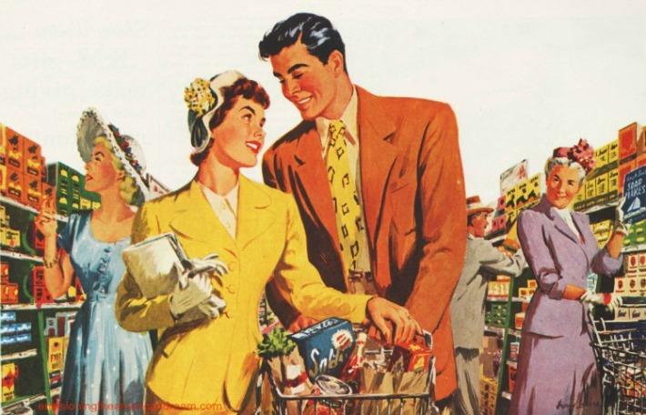 vintage illustration Supermarket couple 1949