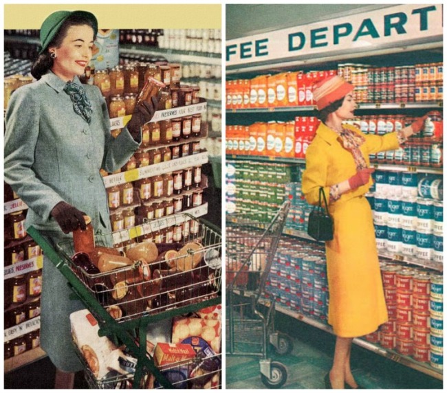 Vintage housewives shopping supermarket