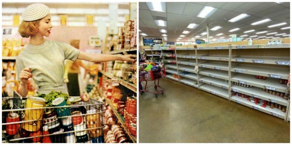ssssssupermarket abundance 1950s and empty shelves 2020