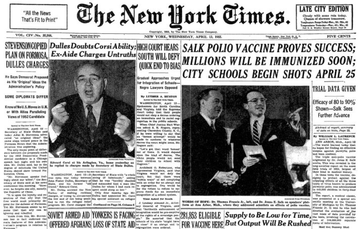 NY Times April 1955 Salk Vaccine Is Successful